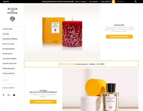 Acqua di Parma, e-shop, marché, français